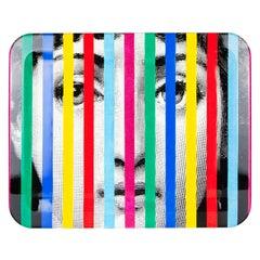 Fornasetti Rectangular Tray Face and Stripes Lina Cavalieri Color Wood