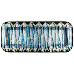 Fornasetti Rectangular Tray Sardine Silver Leaf on Black