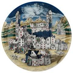 Fornasetti Round Tray Città di Carte Hand-Colored on Metal