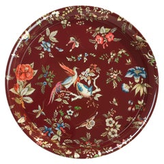 Fornasetti Round Tray Coromandel Hand Painted with Silver Leaf Red