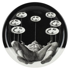 Fornasetti Round Tray Don Giovanni Black/White Metal