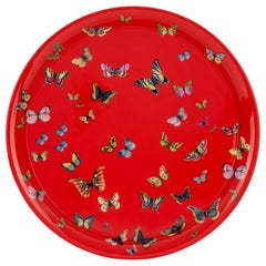 Fornasetti Round Tray Farfalle Butterflies Hand Painted on Red
