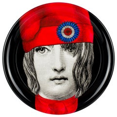 Fornasetti Round Tray Marianne Hand Colored on Black
