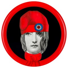Fornasetti Round Tray Marianne Hand Painted Red