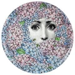 Fornasetti Round Tray Ortensia Hydrangea Hand Colored Metal