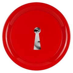 Fornasetti Round Tray Serratura Keyhole Handcrafted Red Metal