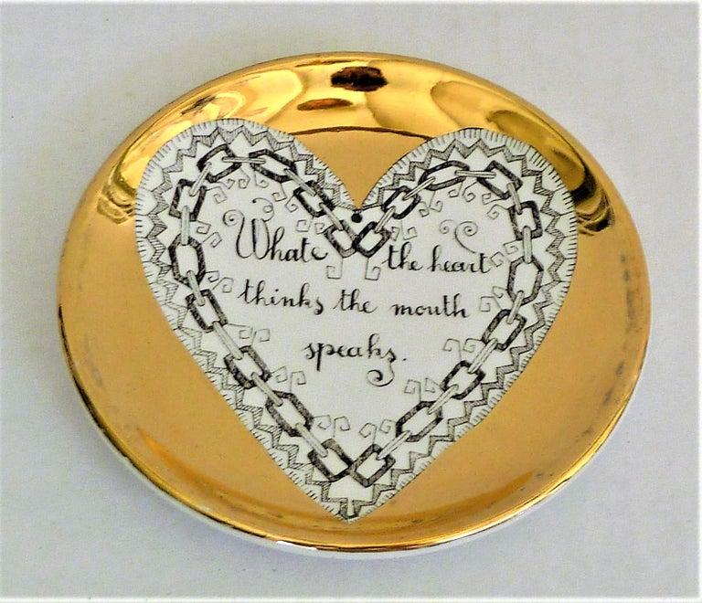 Fornasetti Set of 8 Decorated Porcelain Love Coasters One Bucciarelli, Italy 4