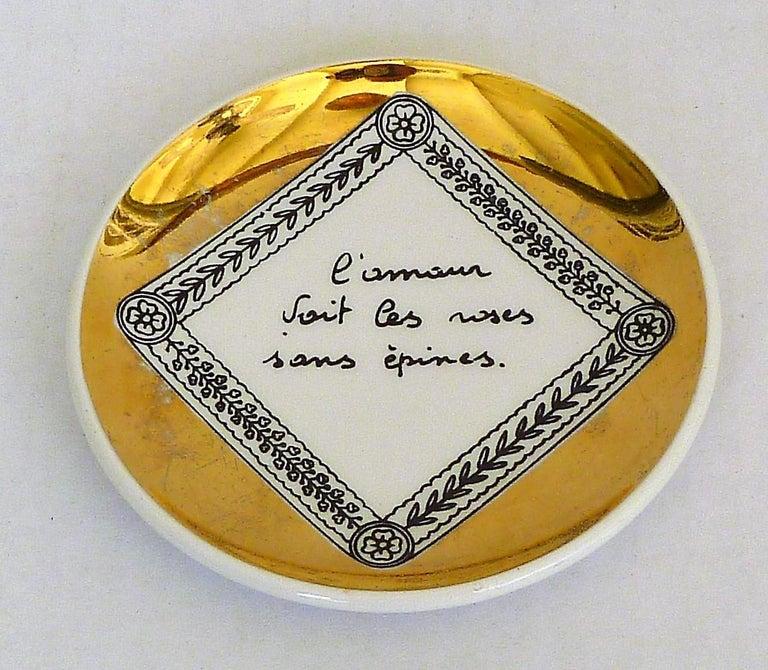 Fornasetti Set of 8 Decorated Porcelain Love Coasters One Bucciarelli, Italy 6