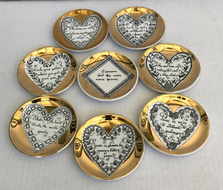 Fornasetti Set of 8 Decorated Porcelain Love Coasters One Bucciarelli, Italy 8
