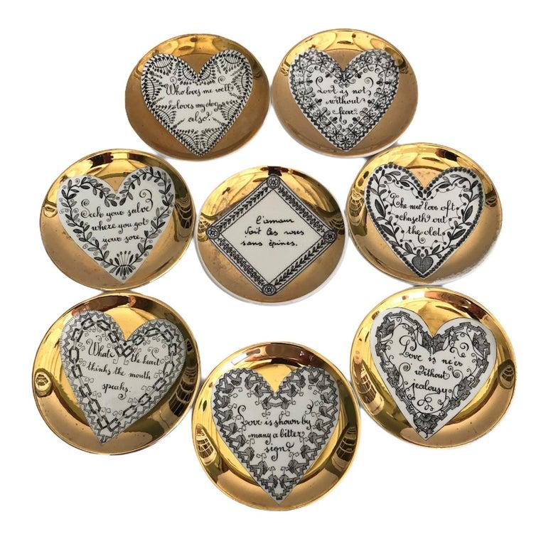 Fornasetti Set of 8 Decorated Porcelain Love Coasters One Bucciarelli, Italy 9
