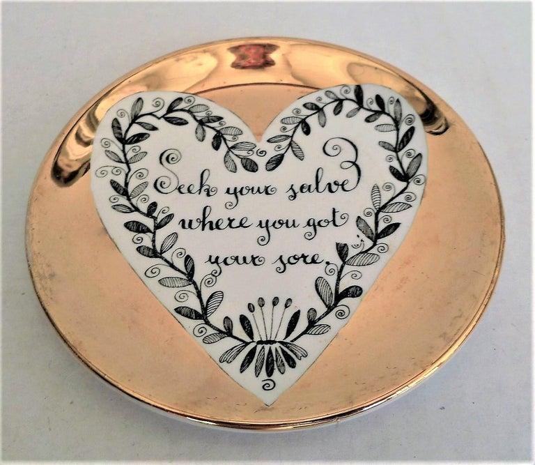 Italian Fornasetti Set of 8 Decorated Porcelain Love Coasters One Bucciarelli, Italy