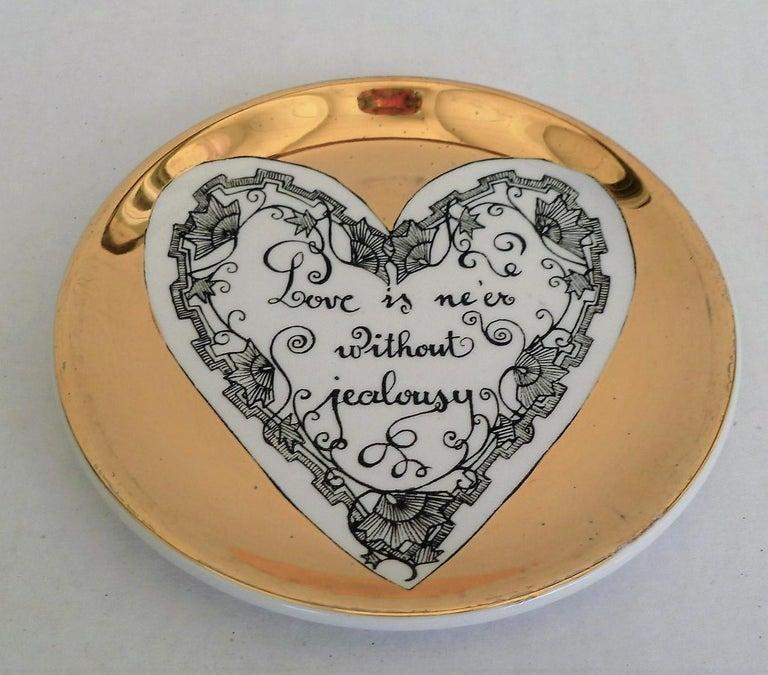 Fornasetti Set of 8 Decorated Porcelain Love Coasters One Bucciarelli, Italy In Good Condition In Miami, FL