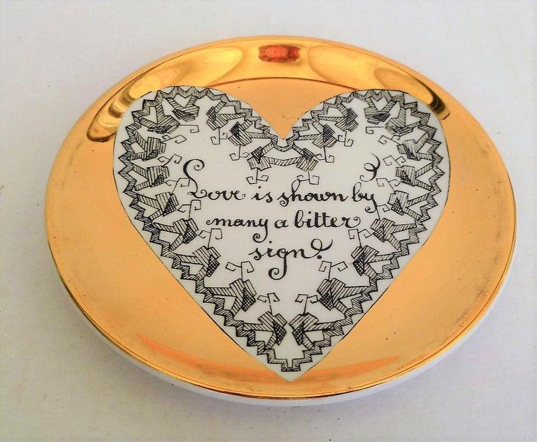 Mid-20th Century Fornasetti Set of 8 Decorated Porcelain Love Coasters One Bucciarelli, Italy