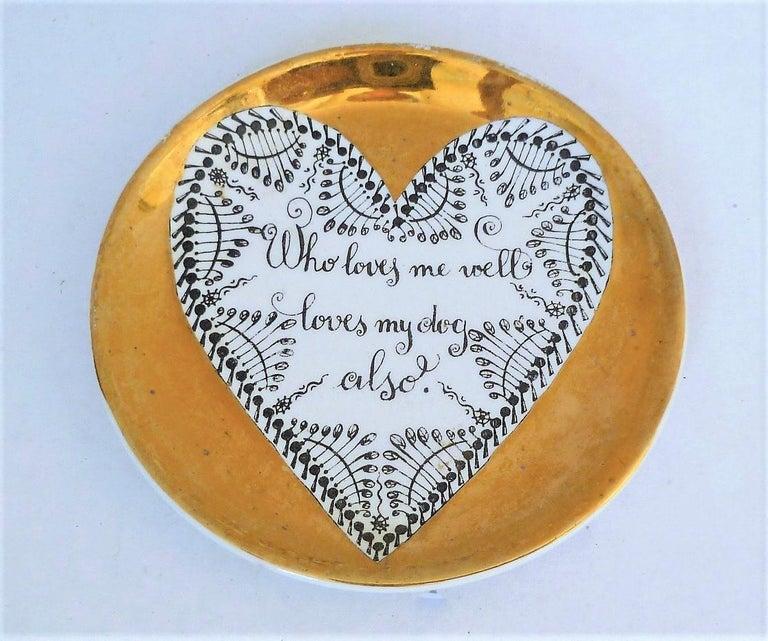 Fornasetti Set of 8 Decorated Porcelain Love Coasters One Bucciarelli, Italy 1