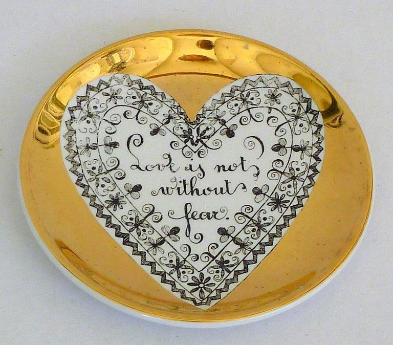 Fornasetti Set of 8 Decorated Porcelain Love Coasters One Bucciarelli, Italy 3