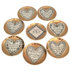 Fornasetti Set of 8 Decorated Porcelain Love Coasters One Bucciarelli, Italy