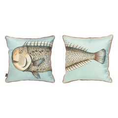 Fornasetti Set of 2 Silk Cushions Grande Pesce Fish