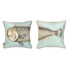 Fornasetti Set of 2 Silk Cushions Grande Pesce Fish
