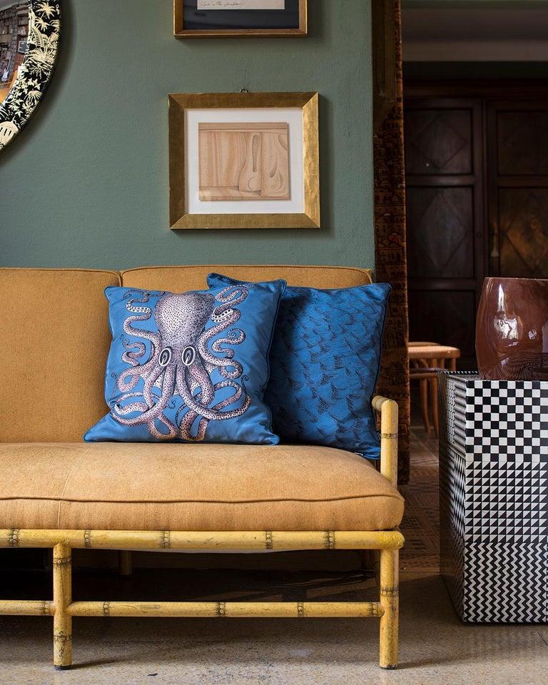 Modern Fornasetti Silk Cushion Polipo Octopus For Sale