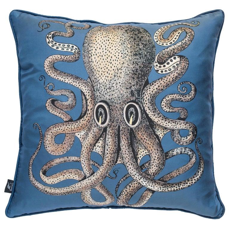 Fornasetti Silk Cushion Polipo Octopus For Sale