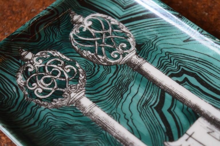 Fornasetti Skeleton Key Dish In Good Condition For Sale In Princeton, NJ