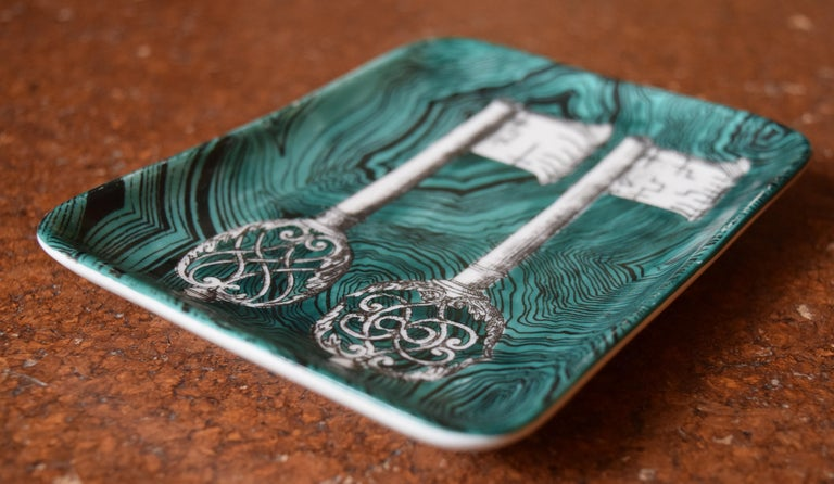 Mid-20th Century Fornasetti Skeleton Key Dish For Sale