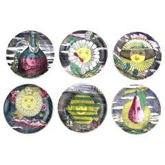 Fornasetti 'Soli E Lune' Set of Porcelain Coasters with Original Box