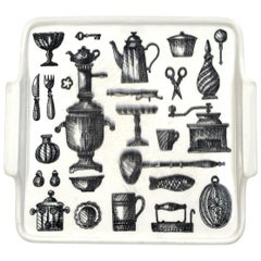 Back and White Ceramic Tray Decorated with Kitchen Items