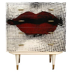 Fornasetti Style Mid-Century Modern Chest of Drawers with Painted Red Lips Face