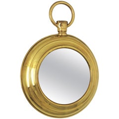 Fornasetti Style Midcentury Brass Pocket Watch Wall Round Mirror