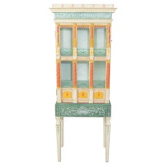 Fornasetti Style Renaissance French Display Curio Cabinet by Eric Lansdown