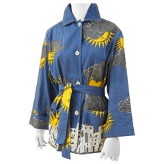 Fornasetti sun and cloud linen jacket with belt NWOT