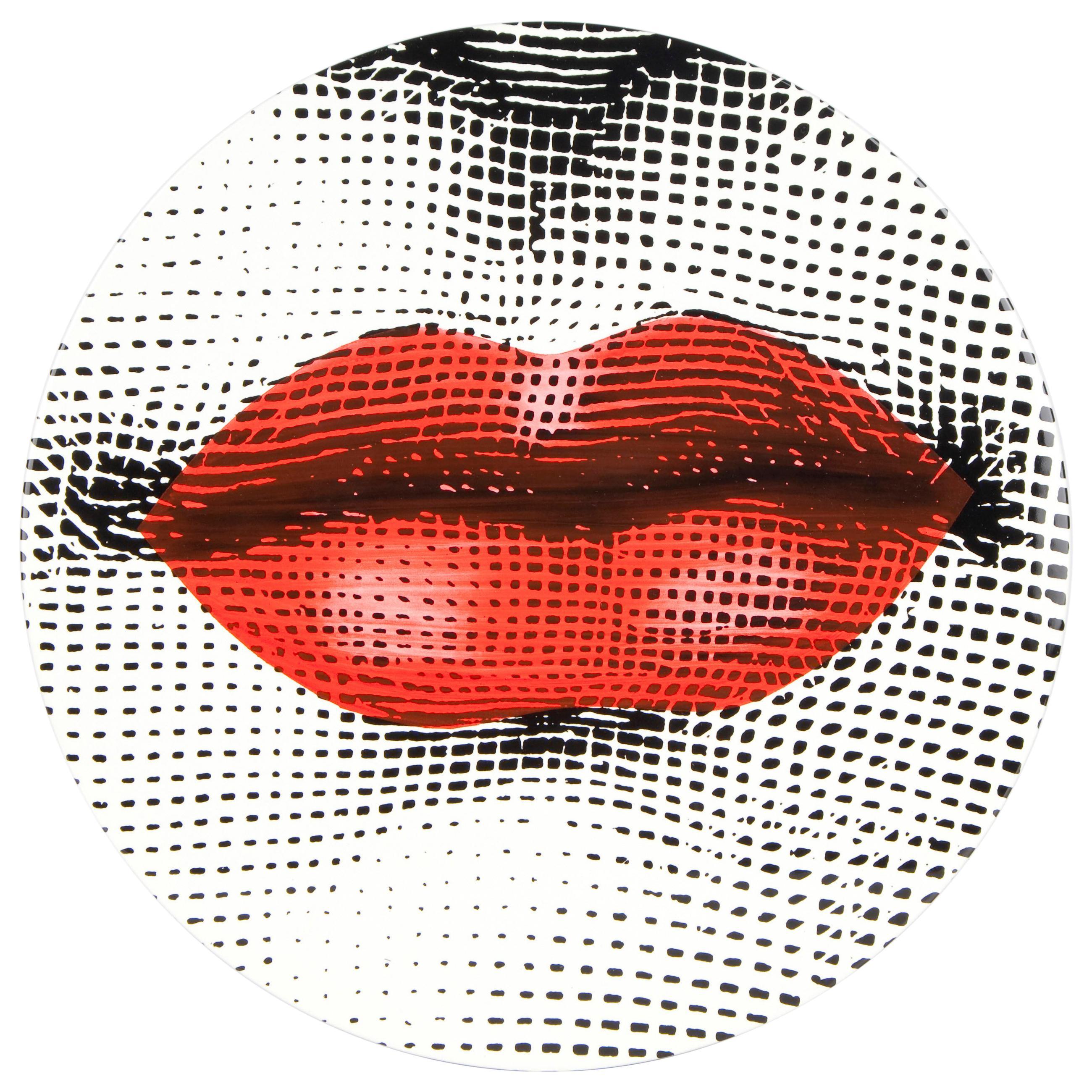 Fornasetti Table Bocca Red Lips Brass Tripod Base