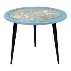 Fornasetti Table Emisfero Occidentale Gold/Sponged Blue, Wooden Legs
