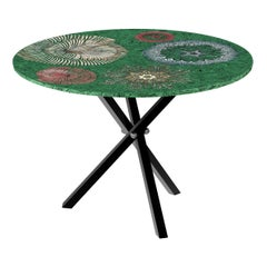 Fornasetti Table Madrepore E Fiori Marini Silver Leaf on Green Malachite Tripod