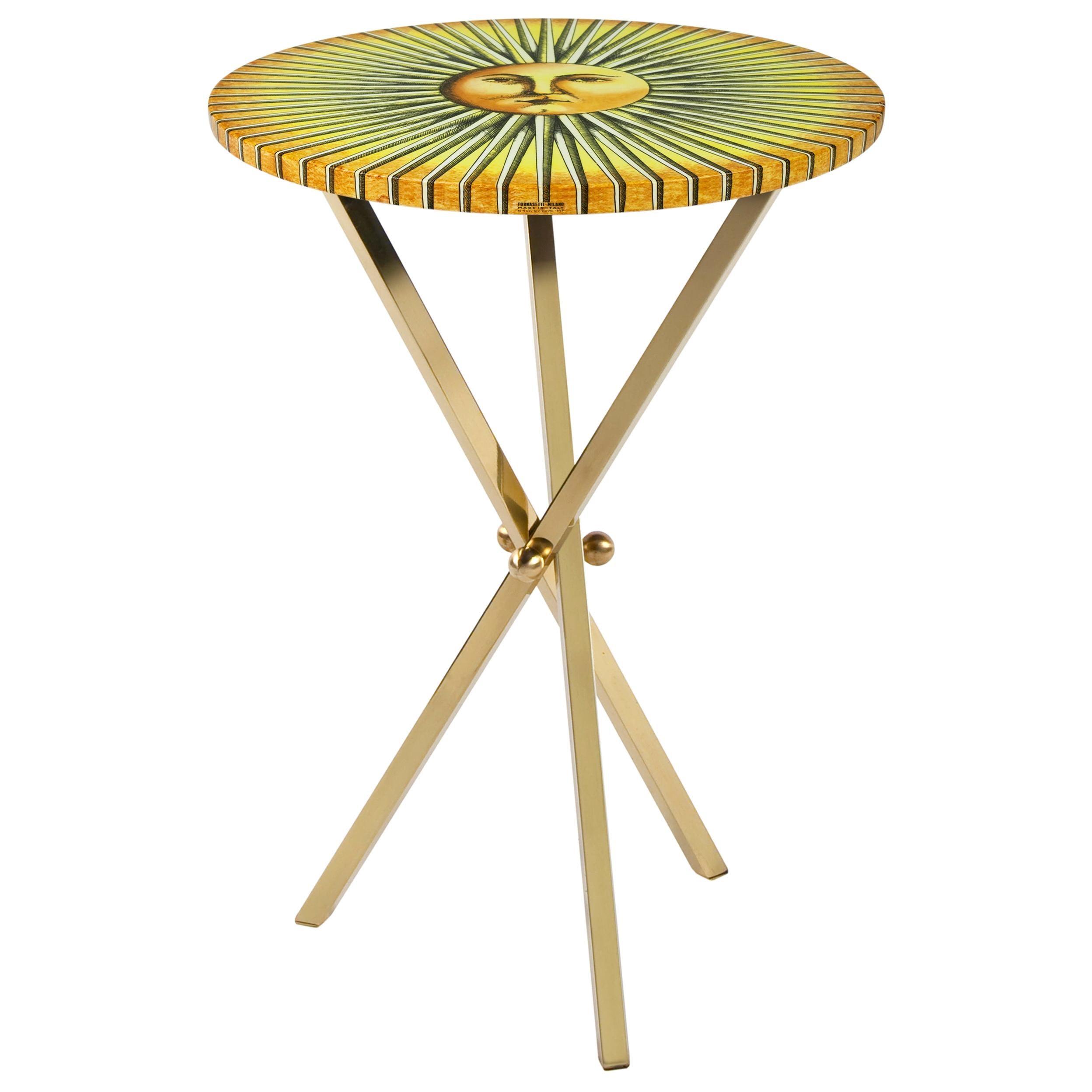 Fornasetti Table Sole Splendente Sun Brass Tripod Base