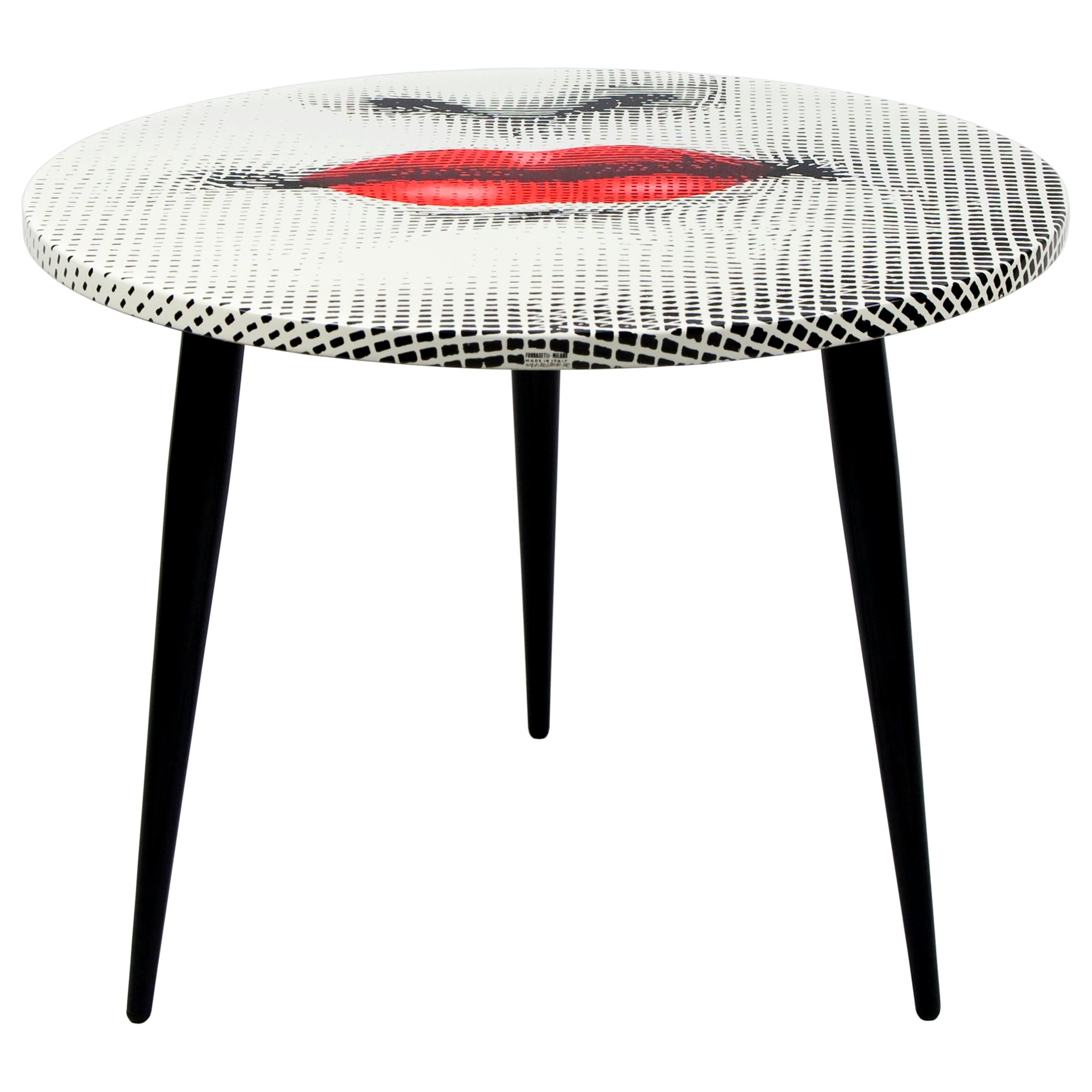 Fornasetti Table Top Bocca Red Lips Hand Colored, Wooden Legs