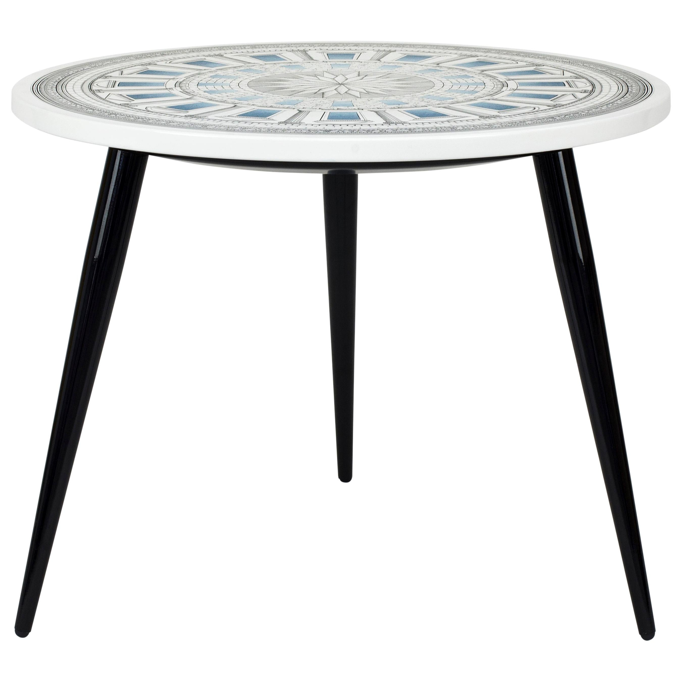 Fornasetti Table Top Cortile Celeste Architectural Motif, Wooden Legs