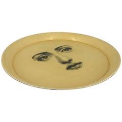 Piero Fornasetti Tray, made in italy, 1960 circa white printed face