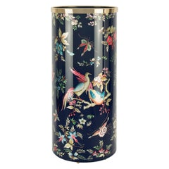 Fornasetti Umbrella Stand Coromandel Hand Colored on with Silver Leaf on Blue