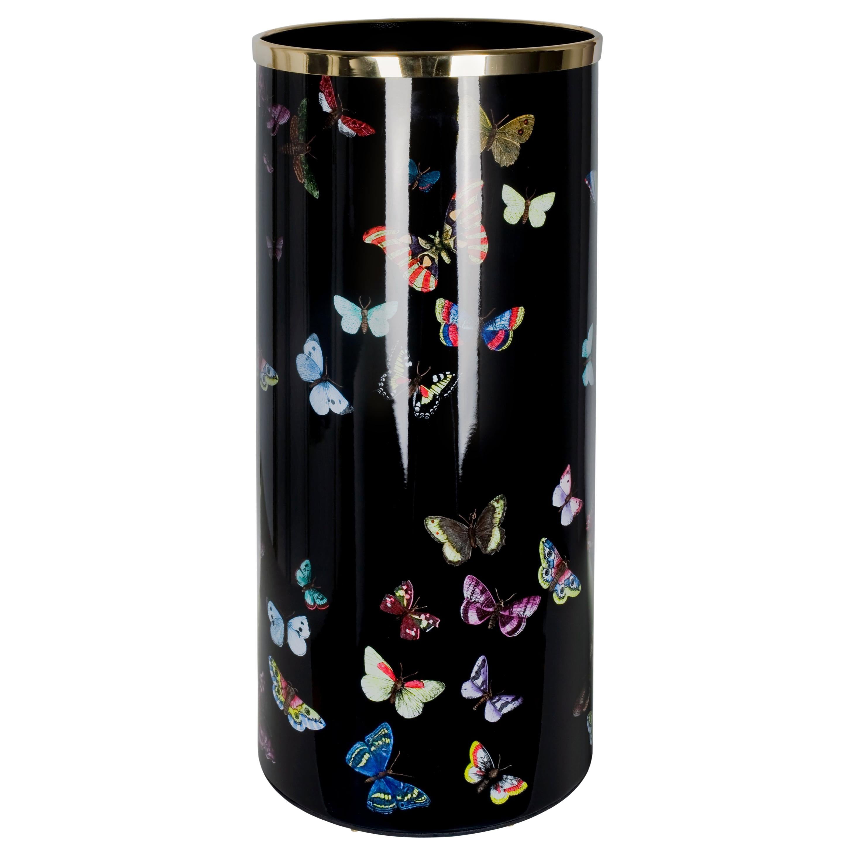 Fornasetti Umbrella Stand Farfalle Butterflies Hand Colored on Black
