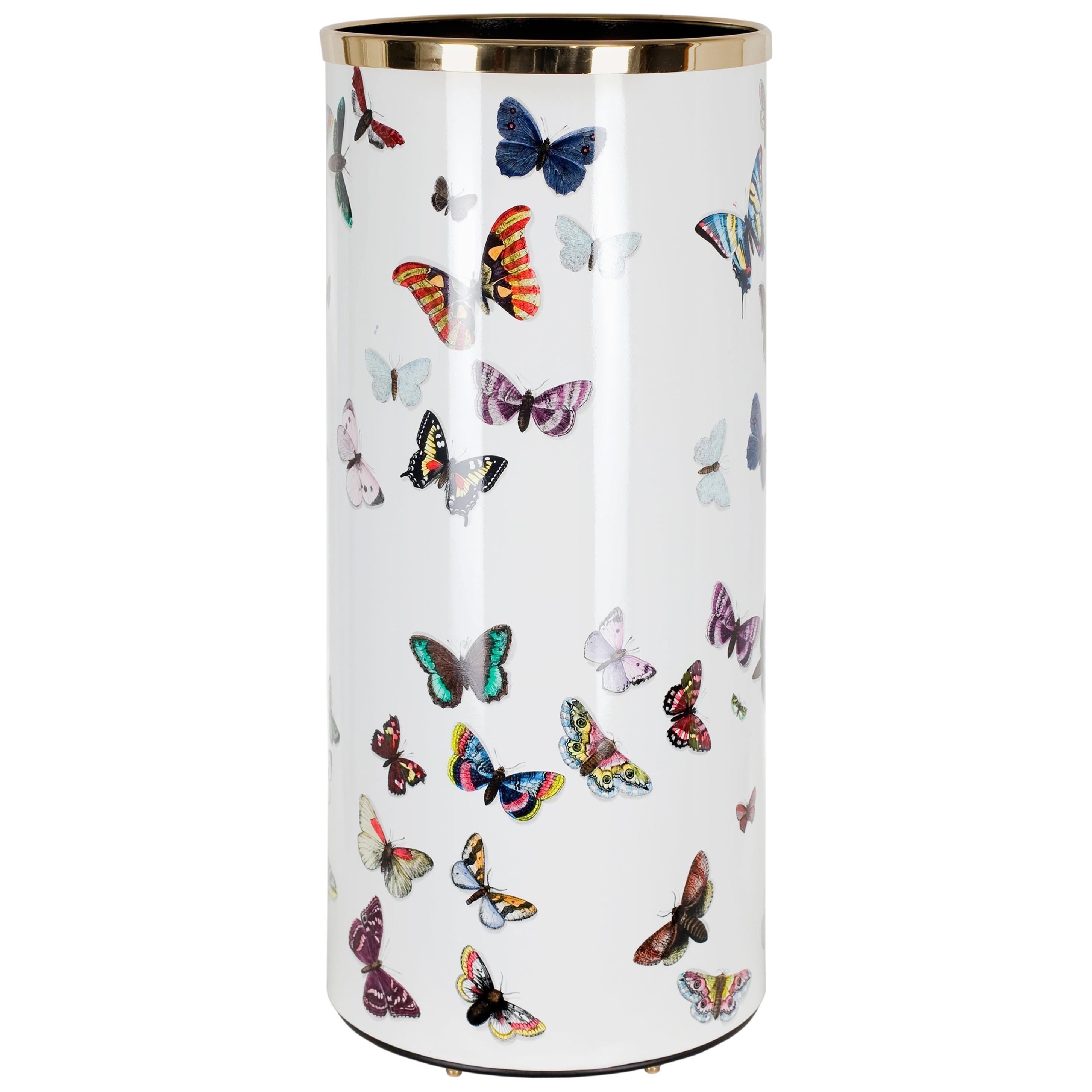 Fornasetti Umbrella Stand Farfalle Handcolored on White