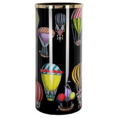 Fornasetti Umbrella Stand Palloni Hot-Air Balloons Hand Colored on Black