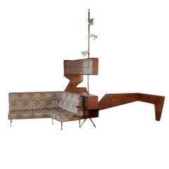 Furniture Mahogany Veneer Brass Glass Foam Padding and Fabric, 1950s