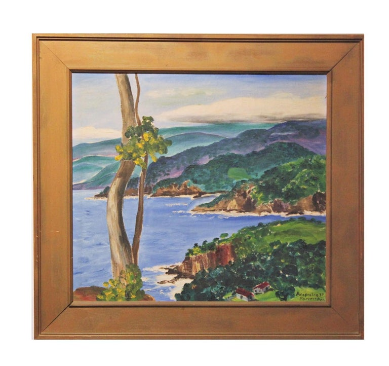 """Beautiful landscape titled """"Acapulco"""" by renowned American painter Forrest Bess. Oil on canvas, circa 1939. Dimensions listed are of painting itself without frame. Signed, titled, and dated in lower right corner.  Artist Biography: Forrest Bess"""