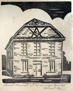 Third Church at Deming's Bridge - Linocut Print