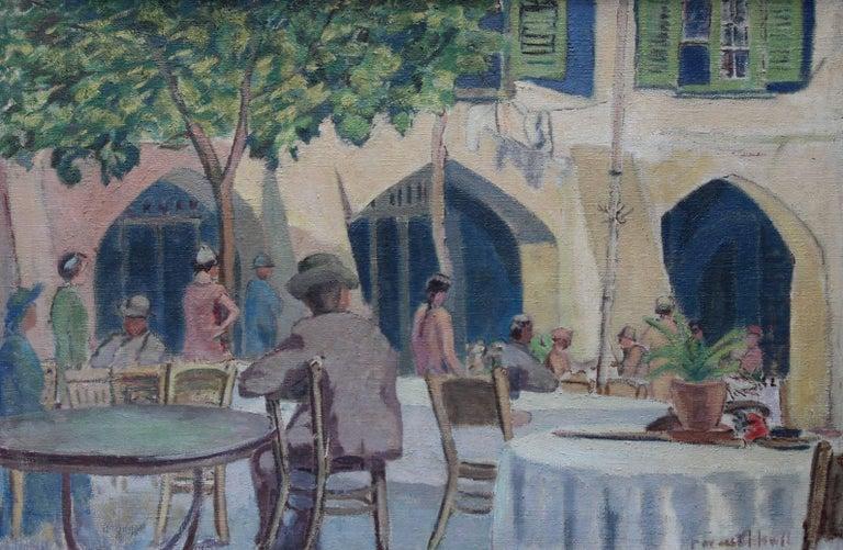 Cafe Porto Fino Italy - British Post Impressionist oil painting Italian Riviera 2
