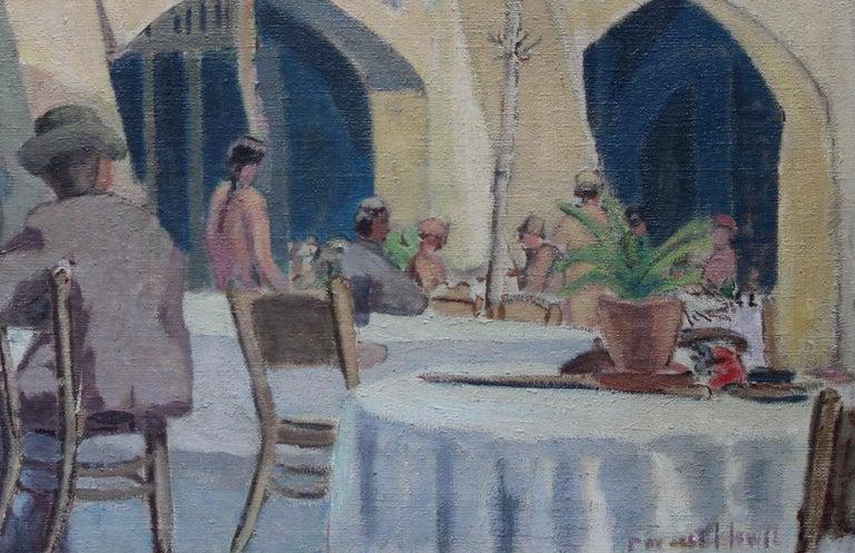 Cafe Porto Fino Italy - British Post Impressionist oil painting Italian Riviera 3
