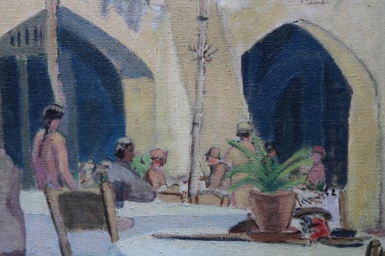 Cafe Porto Fino Italy - British Post Impressionist oil painting Italian Riviera 5