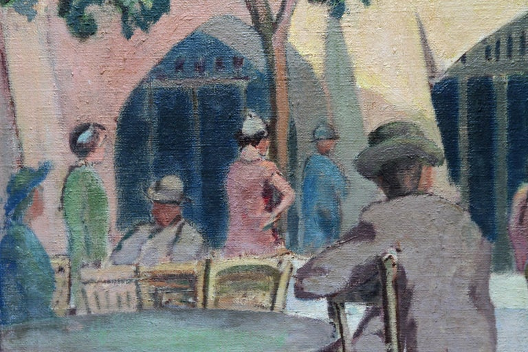 Cafe Porto Fino Italy - British Post Impressionist oil painting Italian Riviera 6